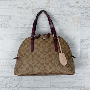Coach tan leather monogram dome bowler satchel